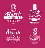 Ladys Day Love Spring 8 March Calligraphy Prints. Ladies day love spring 8 March calligraphy prints dedicated to International holiday, decorated by heart and royalty free illustration