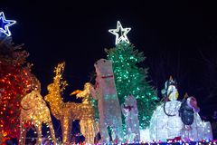 LADYSMITH, BC,加拿大- 2017年11月30日:圣诞节巴拉的看法 免版税库存图片