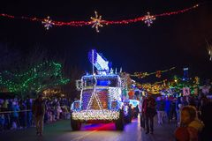 LADYSMITH, BC, CANADA - NOV 30, 2017: View of the Christmas para Royalty Free Stock Photo