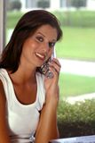 ladytelefon royaltyfri bild