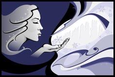 ladyvinter royaltyfri illustrationer