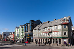 Laekjargata street in the downtown Reykjavik Stock Images