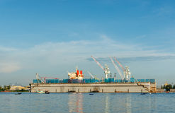 Laem Chabang skeppsvarv, Chonburi landskap Thailand Arkivfoto