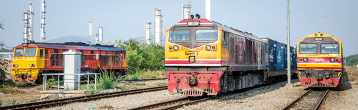 Laem Chabang, Thailand: Drie locomotieven het parkeren. Stock Fotografie