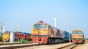 Laem Chabang,Thailand:Three locomotives parking. Alsthom and old G.E. and HITACHI locomotive parking at Laem Chabang station Bangkok Thailand Royalty Free Stock Photography