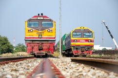 Laem Chabang,Thailand:Two locomotives freight park. G.E. and HITACHI locomotive parking at Laem Chabang station,Thailand Royalty Free Stock Photos