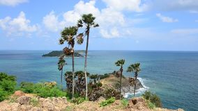 Laem Phrom Thep Cape Viewpoint in Phuket, Thailand. Wind and wave in andaman sea at Laem Phrom Thep Cape Viewpoint in Phuket, Thailand stock footage