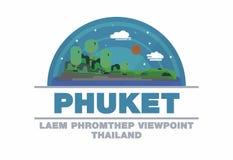 Laem Phromthep punkt widzenia Phuket, Tajlandia loga symbolu mieszkania des Fotografia Royalty Free