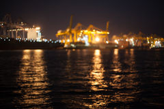 Laemchabang habour night time blur mode with bokeh Stock Images
