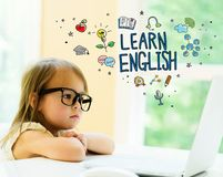 Laen English text with little girl stock photos