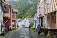 Laerdalsoyri,挪威的一个典型的村庄 库存图片