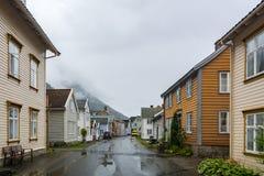 Laerdalsoyri,挪威的一个典型的村庄 库存照片