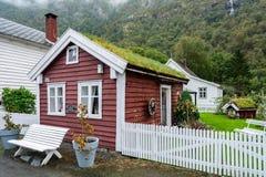 Laerdalsoyri,挪威的一个典型的村庄 免版税库存图片