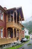Laerdalsoyri,挪威的一个典型的村庄 图库摄影