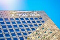 Laförsvar, Frankrike - Juli 17, 2016: Närbild överst av det Engie tornet Engie är ett franskt multinationellt elektriskt nytto- f Royaltyfri Bild