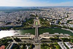 Laförsvarområde, Trocadero ställe och Seine River, Paris, Fra Arkivbild