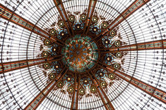 Lafayette ceiling. Architectural details from Lafayette Gallery trade center in Paris, France stock photos