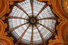 Lafayette ceiling sphere. Architectual details from Lafayette Gallery trade center in Paris, France stock image