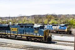 Lafayette - Circa April 2017: CSX Locomotive Train. CSX operates a Class I railroad in the US IV Stock Image