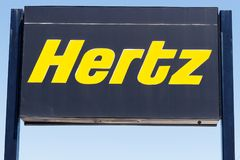 Lafayette - Circa April 2018: Local Hertz Car Rental Location. Hertz is the largest U.S. car rental company by sales I. Local Hertz Car Rental Location. Hertz is Royalty Free Stock Photo