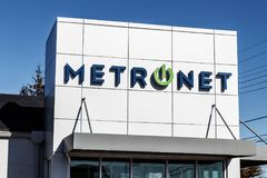 Lafayette - Circa February 2018: Local MetroNet retail store. MetroNet offers business and residential fiber optic internet I Royalty Free Stock Photos