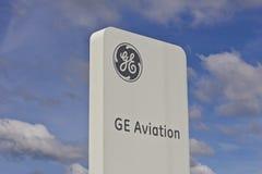 Lafayette IN - Circa Juli 2016: General Electric flyglätthet GE flyg är en producent av LEAP Jet Engines VII Arkivfoto