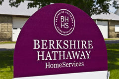 Lafayette, IN - Circa July 2016: Berkshire Hathaway HomeServices Sign. HomeServices is subsidiary of Berkshire Hathaway Energy I Stock Images