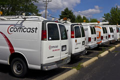 Lafayette, IN - Circa July 2016: Comcast Service Vehicles. Comcast is a Multinational Mass Media Company IV Royalty Free Stock Images