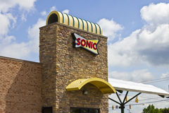 Lafayette, IN - Circa July 2016: Sonic Drive-In Fast Food Location. Sonic is is a Drive-In Restaurant Chain I. Sonic Drive-In Fast Food Location. Sonic is is a Royalty Free Stock Images