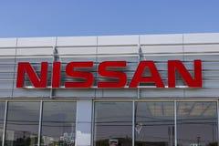 Lafayette - Circa Juni 2017: Logo och Signage av en Nissan Car och en SUV återförsäljare Nissan är delen av RenaultNissanen Allia Royaltyfria Foton