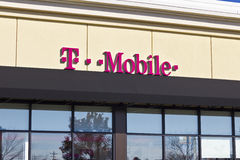 Lafayette, IN - Circa November 2015: T-Mobile Retail Wireless Store. T-Mobile is a wireless provider offering cell phones, data plans, Internet devices royalty free stock photos