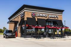 Lafayette - Circa September 2017: Restaurang för smörgås för Jimmy John ` s gourmet- Jimmy John ` s är bekant för deras snabba le Royaltyfri Bild