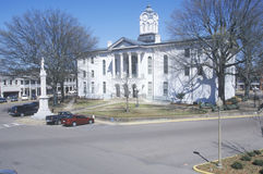 Lafayette County Court House in center of historic old southern town and storefronts of Oxford, MS Royalty Free Stock Photography