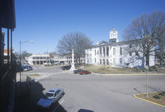 Lafayette County Court House in center of historic old southern town and storefronts of Oxford, MS Stock Photos