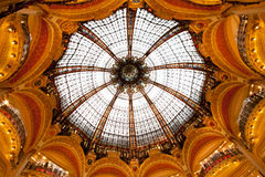 Lafayette Galleries dome in the center. Of Paris France Stock Photo