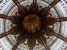 Lafayette Gallery's sumptuous glazed roof. Lafayetter Gallery roof in Paris forming a lovely pattern with it's domed roof Royalty Free Stock Images