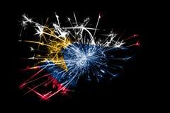 Lafayette, Indiana fajerwerki błyska flaga Nowy Rok 2019 i przyjęcia gwiazdkowego pojęcie obraz royalty free