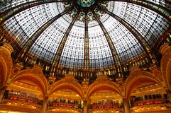 Lafayette luxury shopping mall in Paris. Inside the Lafayette luxury shopping mall in Paris Stock Images