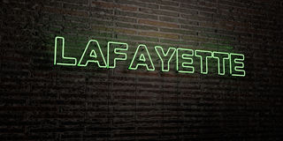 LAFAYETTE -Realistic Neon Sign on Brick Wall background - 3D rendered royalty free stock image Stock Image