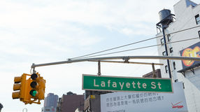 Lafayette Street Sign at Canal Street in Manhattan. Stock Photo