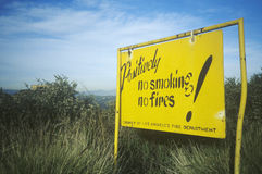 A LAFD sign that reads no smoking, no fires Royalty Free Stock Photos