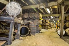 Lafroaig old wooden barrels and casks in cellar at whisky distillery in Scotland. ISLAY, SCOTLAND - SEPT 15 2017 : Old wooden barrels and casks at Lafroaig stock images