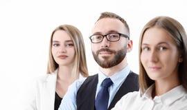 Lag av affären och kontorsarbetare, närbild på en vit bakgrund royaltyfria foton
