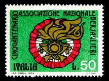 Lag av Bersaglieri, serie för medborgareBersaglieri anslutning, cir Royaltyfria Bilder