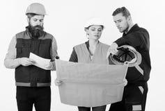 Lag av byggmästaren, tekniker, arkitektarbete på projekt för begreppsdockor för bakgrund svart färgrikt arbete för lag Män och kv Royaltyfri Fotografi