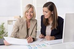 Lag av den lyckade affärskvinnan i kontoret som arbetar i leadin royaltyfria bilder