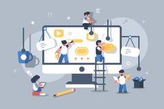 Lag av folk som bygger eller planlägger datorappen royaltyfri illustrationer