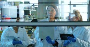 Lag av forskare som diskuterar över exponeringsglasbrädet 4k arkivfilmer
