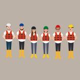 Lag av färg för hjälm för byggnadsarbetare bärande olik Arkivfoton