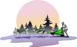 Lag av hundkapplöpning mot ett landskap Royaltyfri Illustrationer